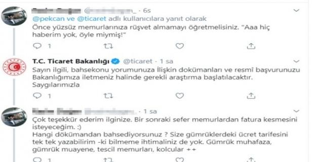 "Bakan Pekcan'a ""Rüşvetin belgesi olmaz"" twiiti!"