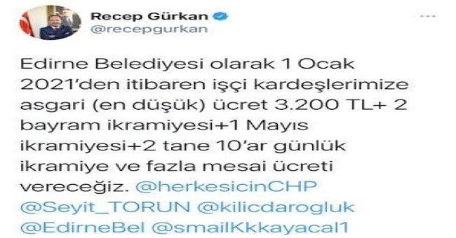 Gürkan asgari ücreti 3 bin 200 TL olarak belirledi!