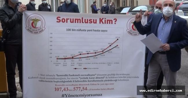 """Edirne Tabip Odası """"3 saniyede 2 kişi Kovid-19 hastası oluyor!"""""""