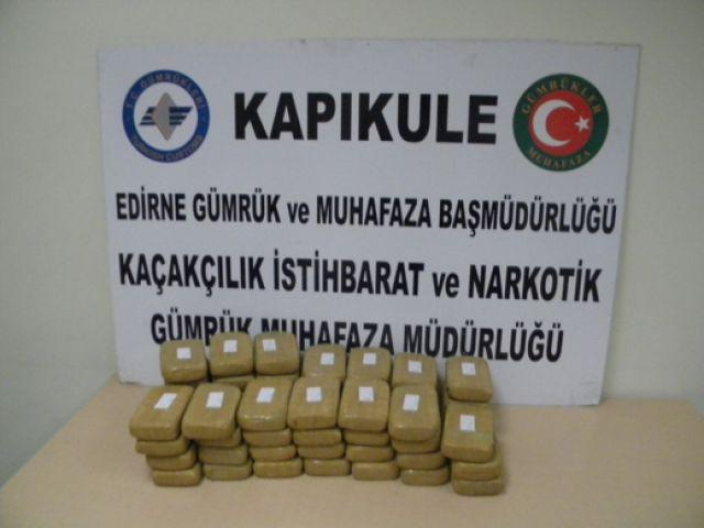 Kapıkule'de yaklaşık 33 kilogram eroin ele geçirildi