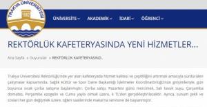 Trakya Üniversitesi duyurdu!