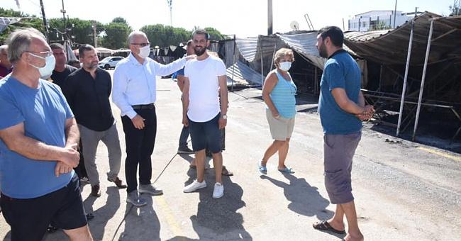 Helvacıoğlu, Erikli Sahili pazaryerinde çıkan yangınla ilgili eleştirileri değerlendirdi